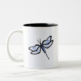 Royal Blue Dragonfly Two-Tone Coffee Mug