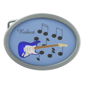 Royal Blue Electric Guitar Oval Belt Buckle