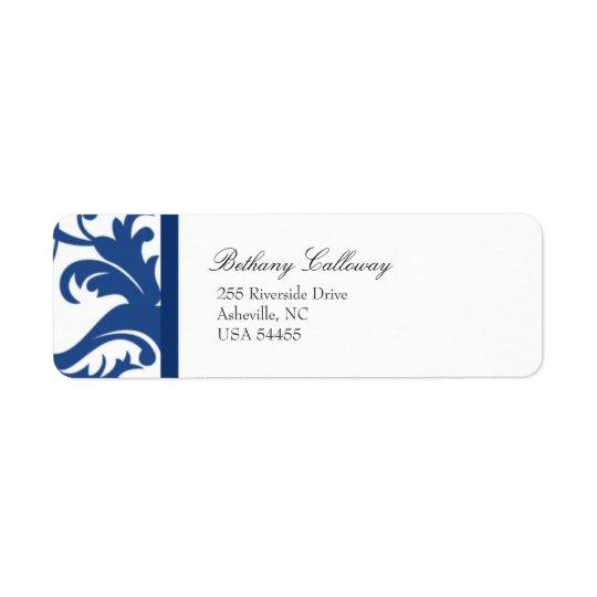 Royal Blue Elegant Damask Return Address Label
