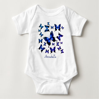 Royal Blue Elegant Whimsical  Butterflies Baby Bodysuit