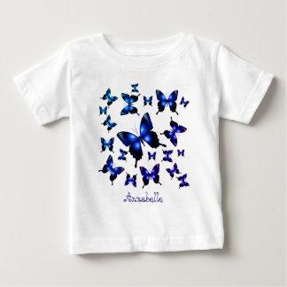 Royal Blue Elegant Whimsical Butterflies Baby T-Shirt