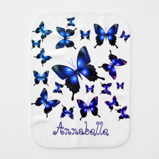 Royal Blue Elegant Whimsical Butterflies Burp Cloth