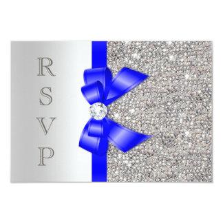 Royal Blue Faux Bow Silver Sequins Diamond RSVP Card