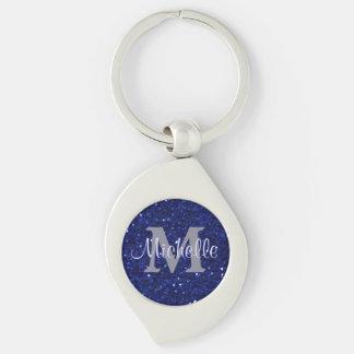 Royal Blue Faux Glitter Monogram Keychain