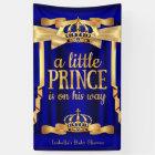 Royal Blue Faux Gold Foil Crown Baby Shower Banner