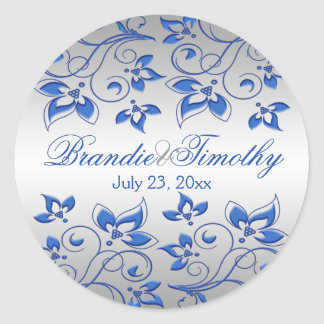 "Royal Blue Floral and Silver 1.5"" Round Sticker"