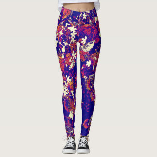 royal blue floral leggings with red/white