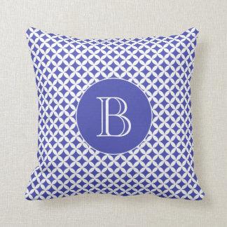 Royal Blue Geometric Pattern Custom Monogram Throw Pillow
