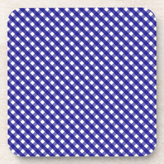 Royal Blue Gingham Pattern Coaster