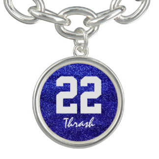 Royal Blue Glitter Custom Jersey Number Charm Bracelets