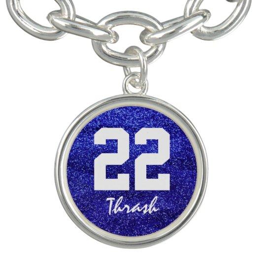 Royal Blue Glitter Custom Jersey Number Charm Bracelets