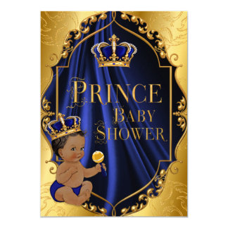 Royal Blue & Gold African American Prince Crown Card