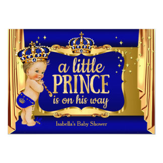 "Royal Blue Gold Boy Prince Baby Shower Blonde 5"" X 7"" Invitation Card"