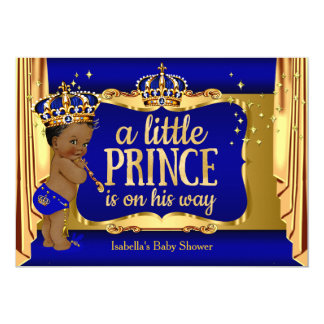 "Royal Blue Gold Boy Prince Baby Shower Ethnic 5"" X 7"" Invitation Card"