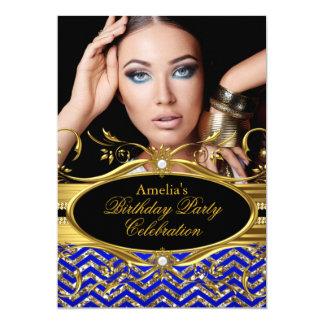 Royal Blue & gold Chevron Diamond Photo Birthday Card