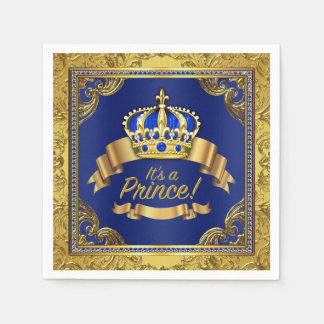 Royal Blue Gold Crown Prince Baby Shower Disposable Napkin
