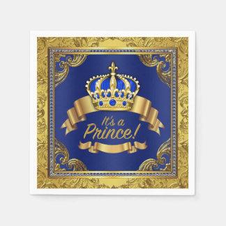 Royal Blue Gold Crown Prince Baby Shower Napkin