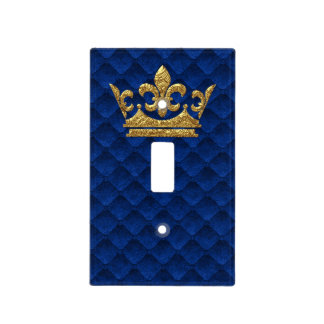 Royal Blue Gold Crown Prince Castle Kingdom Light Switch Cover