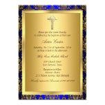 Royal Blue & Gold Damask Cross Baptism Invite