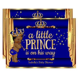 "Royal Blue Gold Drapes Prince Baby Shower Ethnic 5"" X 7"" Invitation Card"