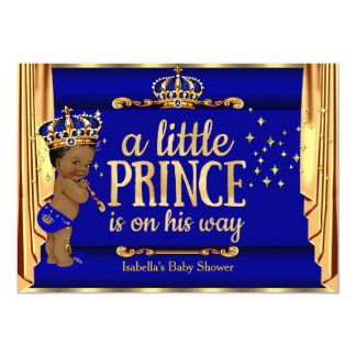 """Royal Blue Gold Drapes Prince Baby Shower Ethnic 5"""" X 7"""" Invitation Card"""