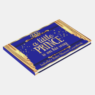 Royal Blue Gold Drapes Prince Baby Shower Guest Book