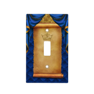 Royal Blue Gold Drapes Scroll Castle Kingdom Light Switch Cover