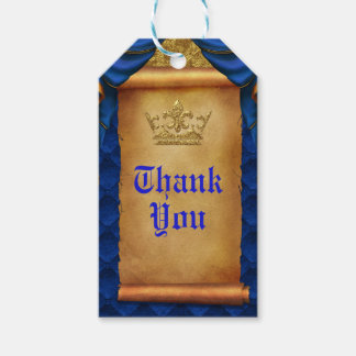 Royal Blue & Gold Drapes Scroll Wedding Favor Gift Tags
