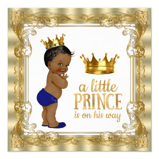 """Royal Blue Gold Ethnic Prince Baby Shower 5.25"""" Square Invitation Card"""