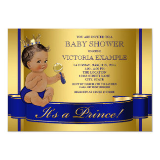 Royal Blue Gold Ethnic Prince Baby Shower Card