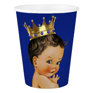 Royal Blue Gold Ethnic Prince Baby Shower Paper Cup