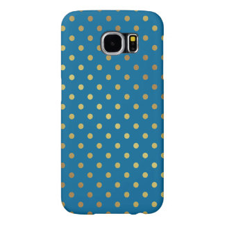 Royal Blue Gold Glitter Dots Adorable Pattern Samsung Galaxy S6 Cases