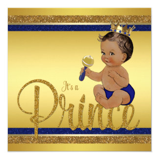 Royal Blue Gold Glitter Ethnic Prince Baby Shower Card