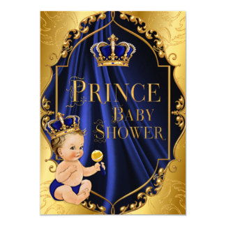 Royal Blue & Gold Little Prince Crown Card