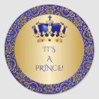 Royal Blue & Gold Little Prince Crown Classic Round Sticker
