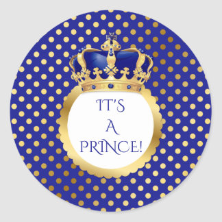 Royal Blue & Gold Little Prince Crown Round Sticker