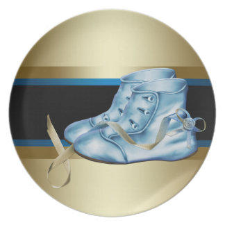 Royal Blue Gold Prince Baby Boy Plate