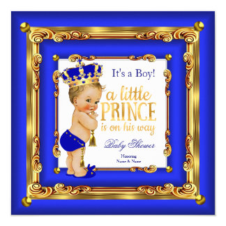 "Royal Blue Gold Prince Baby Shower Blonde Boy 5.25"" Square Invitation Card"