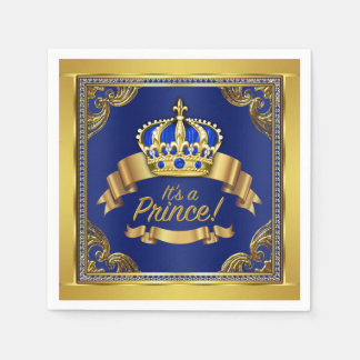 Royal Blue Gold Prince Baby Shower Disposable Napkin