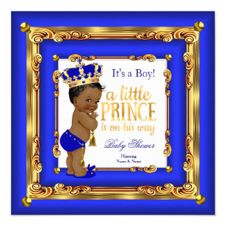 "Royal Blue Gold Prince Baby Shower Ethnic Boy 5.25"" Square Invitation Card"