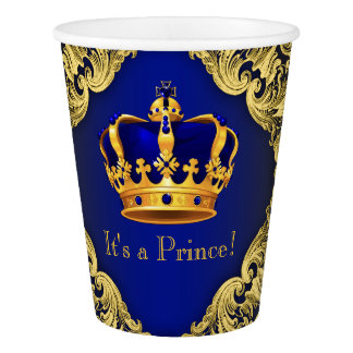 Royal Blue Gold Prince Baby Shower Paper Cup