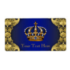 Royal Blue Gold Prince Baby Shower Water Bottle