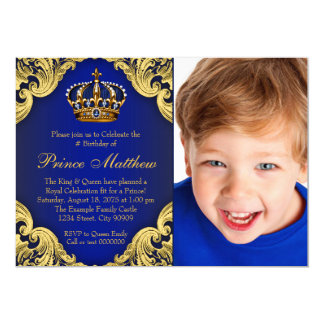 Royal Blue Gold Prince Birthday Party Invitations