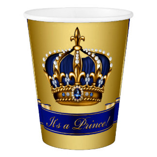 Royal Blue Gold Prince Boy Baby Shower Paper Cup