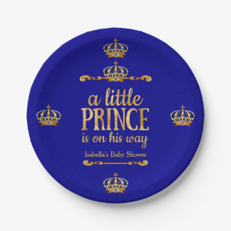 Royal Blue Gold Prince On His Way Baby Shower 7 Inch Paper Plate