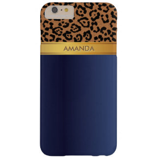Royal Blue Gold Stripe Leopard iPhone 6 Plus Case