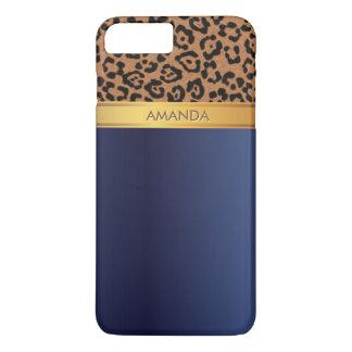 Royal Blue Gold Stripe Leopard iPhone 7 Plus Case