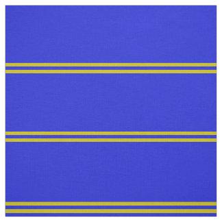 Royal blue, gold striped design fabric