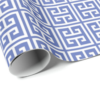 Royal Blue Greek Key Pattern Wrapping Paper