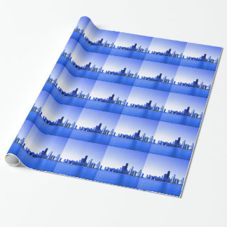 Royal Blue Highlights Chicago Skyline Wrapping Paper